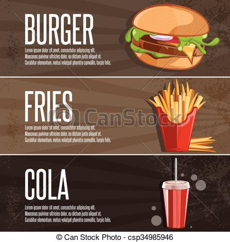 Burger clipart fried food Vector fast and banners