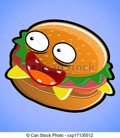 Hamburger clipart funny Illustration delicious and funny Stock
