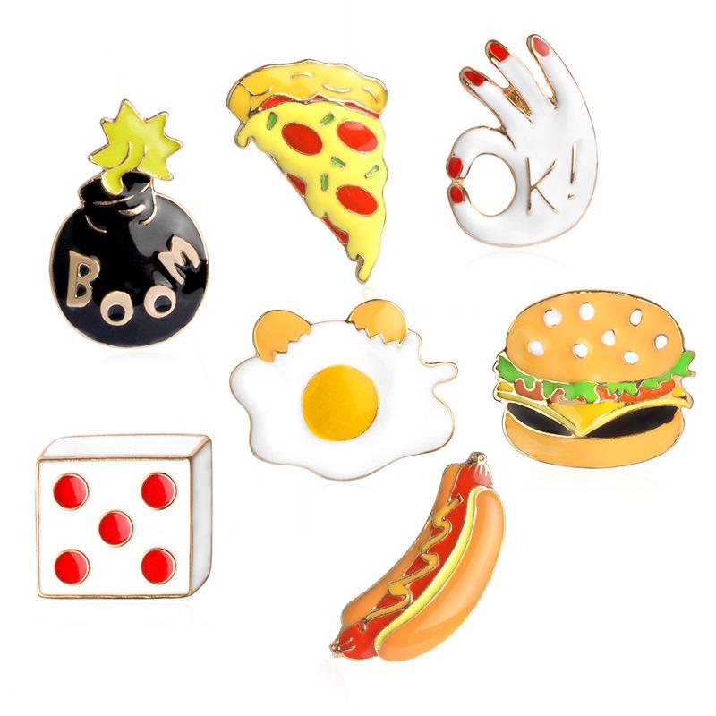 Burger clipart makanan DIY hamburger Pin Tombol Linnor