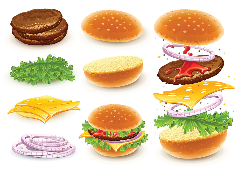 Sandwich clipart lot food Of with Hamburger vector ingredients