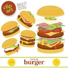Burger clipart pizza Clip on Hamburger Etsy Clipart