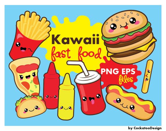 Burger clipart pizza Kawaii SALE clipart fast kawaii
