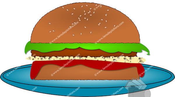 Burger clipart plate food Burger in /> plate Stock
