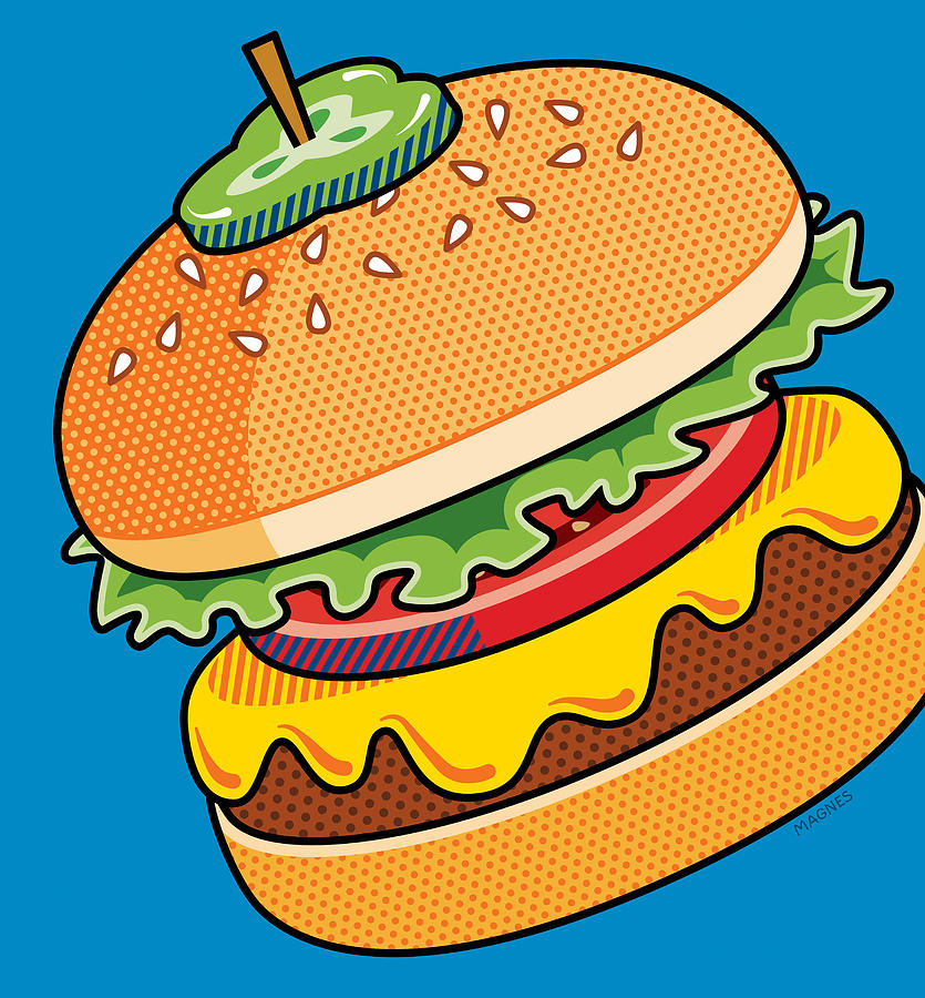 Burger clipart pop art Blue Canvas Cheeseburger / Magnes