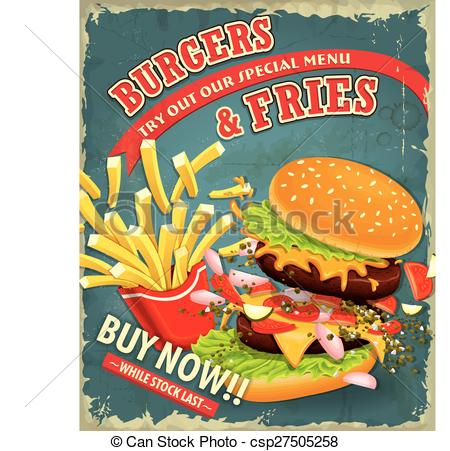Burger clipart vintage  with fries Vector Vintage