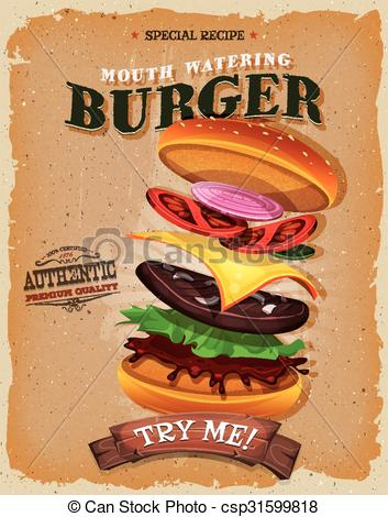 Burger clipart vintage Grunge Ingredients Clip of And