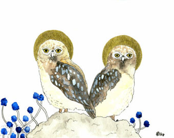 Burrowing Owl clipart snowy owl Gift Watercolor Wall Burrowing Print