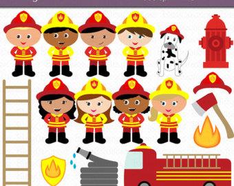 Bus clipart firefighter Art Firefighter Commercial Art Set