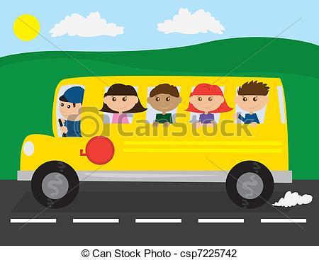 Bus clipart school excursion Kids road the Bus Vector