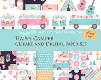 Bus clipart school camp Set + Happy clipart Bus