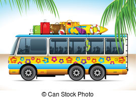 Vacation clipart bus Bus of Vacation concept: on