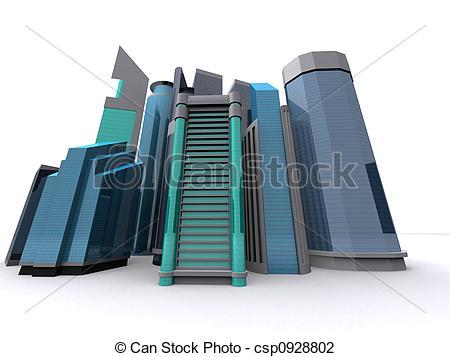 Business clipart downtown Illustration  3d Clip downtown