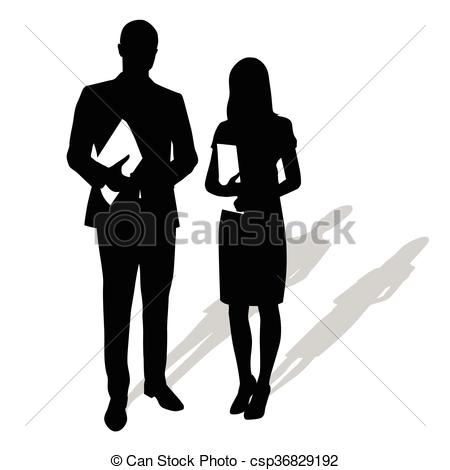 Suit clipart man shadow Holding wearing Man woman papers