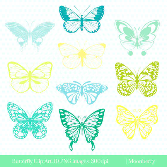 Butterfly clipart baby blue Colorful is a Digital Clip