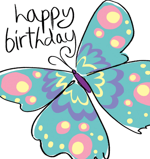Birthday clipart butterfly - Pencil and in color birthday ...