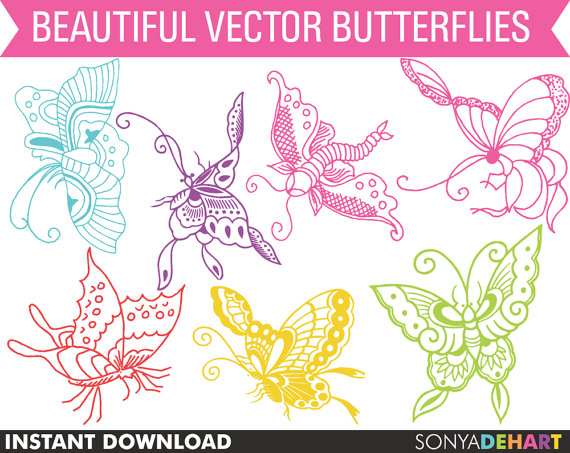 Butterfly clipart light yellow Digital Clipart Clip OFF Clipart