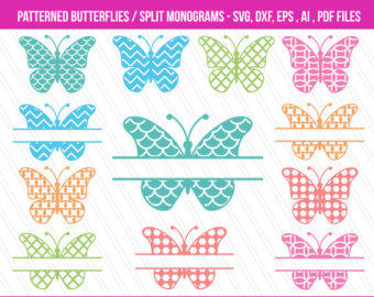 Butterfly clipart light yellow Clipart Patterned monogram SVG Etsy