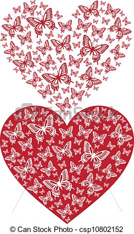Butterfly clipart heart Vector heart Vector red vector