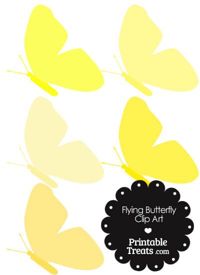 Butterfly clipart light yellow Yellow PrintableTreats Clipart Flying com