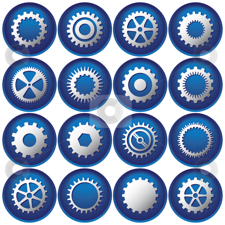 Button clipart sixteen Stock vector Sixteen Cog Buttons/Icons
