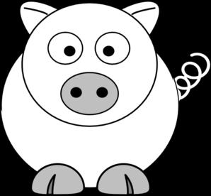 B&w clipart Pig art vector Art B&w