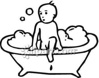B&w clipart bathroom Young B&W childhood soapsuds tub