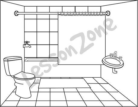 Bathroom clipart pail B&W Bathroom AU Zone Clipart
