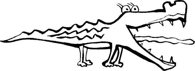 Monochrome clipart alligator #6