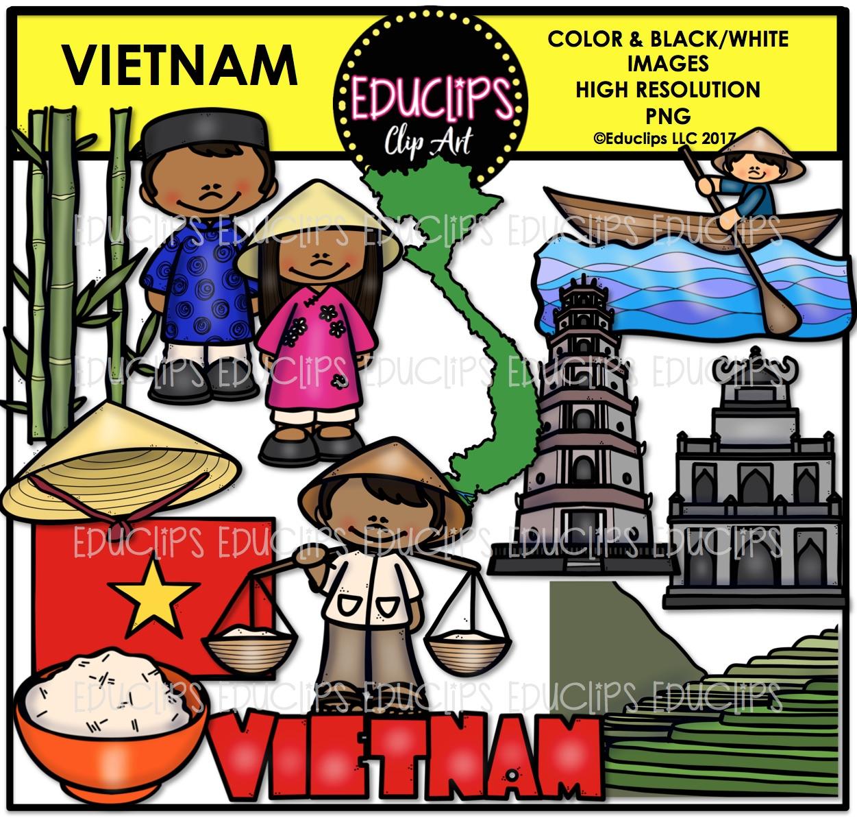 Vietnam clipart B&W) Clip and B&W) Educlips