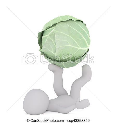 Cabbage clipart ball Playing man faceless Drawing csp43858849