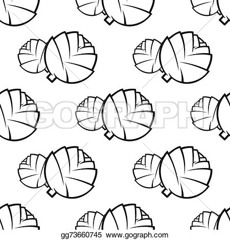 Cabbage clipart outline Outline vegetable seamless seamless EPS