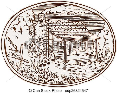Cabin clipart farm Oval Etching House House EPS