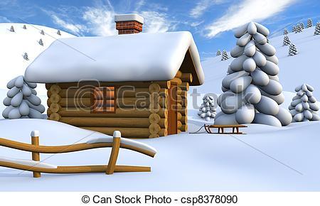 Winter clipart log cabin Cabin Clip Art Log Snowy