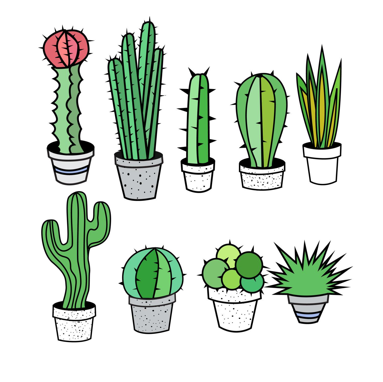 Drawn cactus flat design Tribal Art Tribal Cactus Clipart