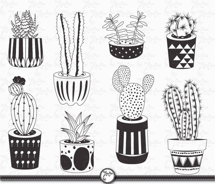 Drawn pot plant clipart