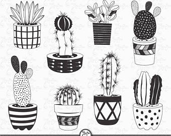 Drawn pot plant weed line Draw Succulent images Tribal Succulent