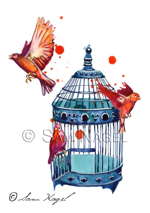 Cage clipart freedom bird Cage Art Ombre Other pillow