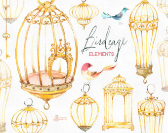 Cage clipart gold Flowers birds & clipart Watercolor
