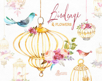 Cage clipart gold Clipart cage Etsy Bird