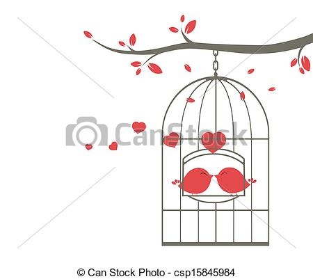 Cage clipart love bird Cage of on Vector csp15845984