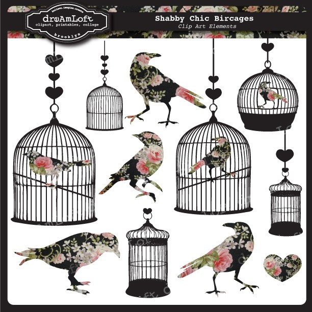 Cage clipart shabby chic Clipart Bird Set clip cards