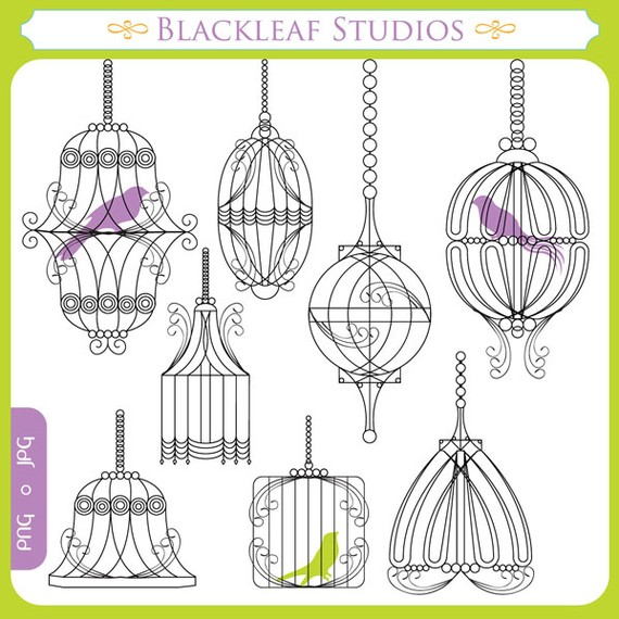 Cage clipart shabby chic Digital Cages set set chic
