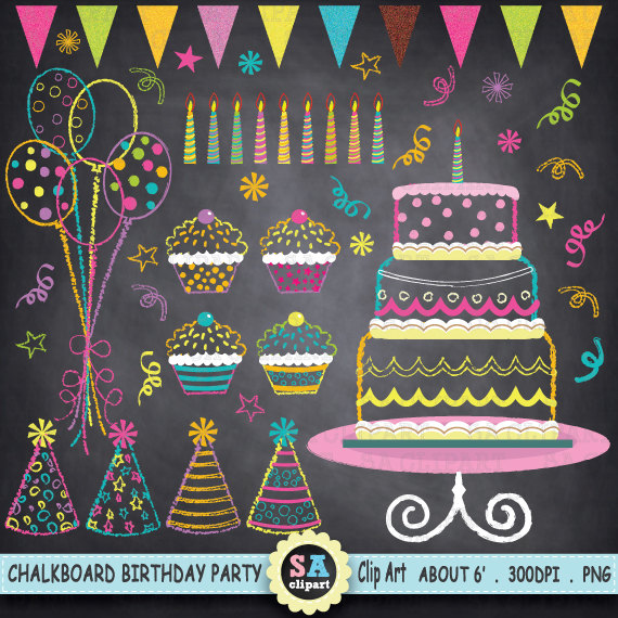 Balloon clipart chalkboard Clipart Art Bakery Chalkboard Birthday