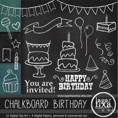 Birthday clipart chalkboard Chalkboard this Chalkboard Art and