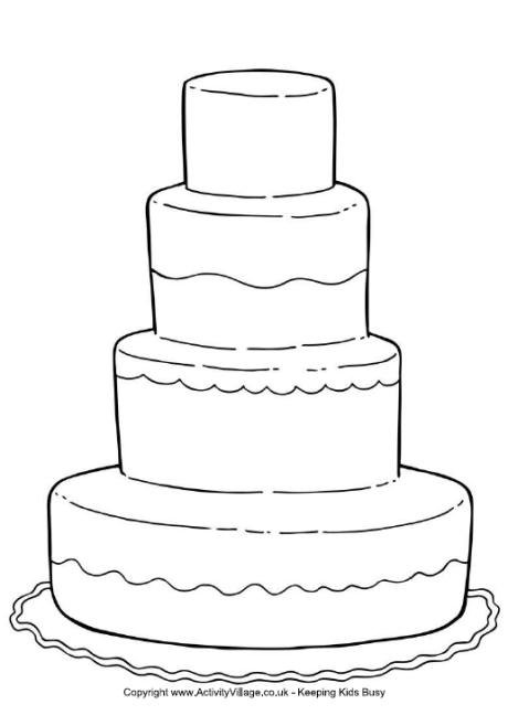 Cake clipart colouring page  Wedding Colouring Page Cake