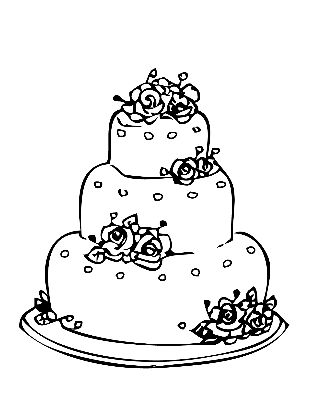 Cake clipart colouring page Favor Kids a Make Wedding