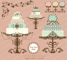 Cake clipart damask SET 6 by clipart inch