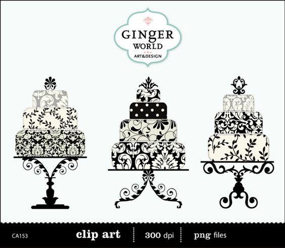 Cake clipart damask Black luxe art cake Wedding