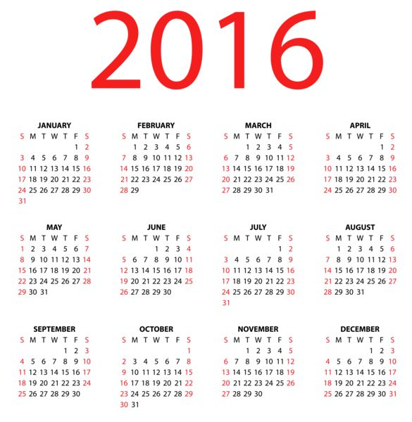 Calendar clipart 2016 year PNG Try 2016 Image PNG
