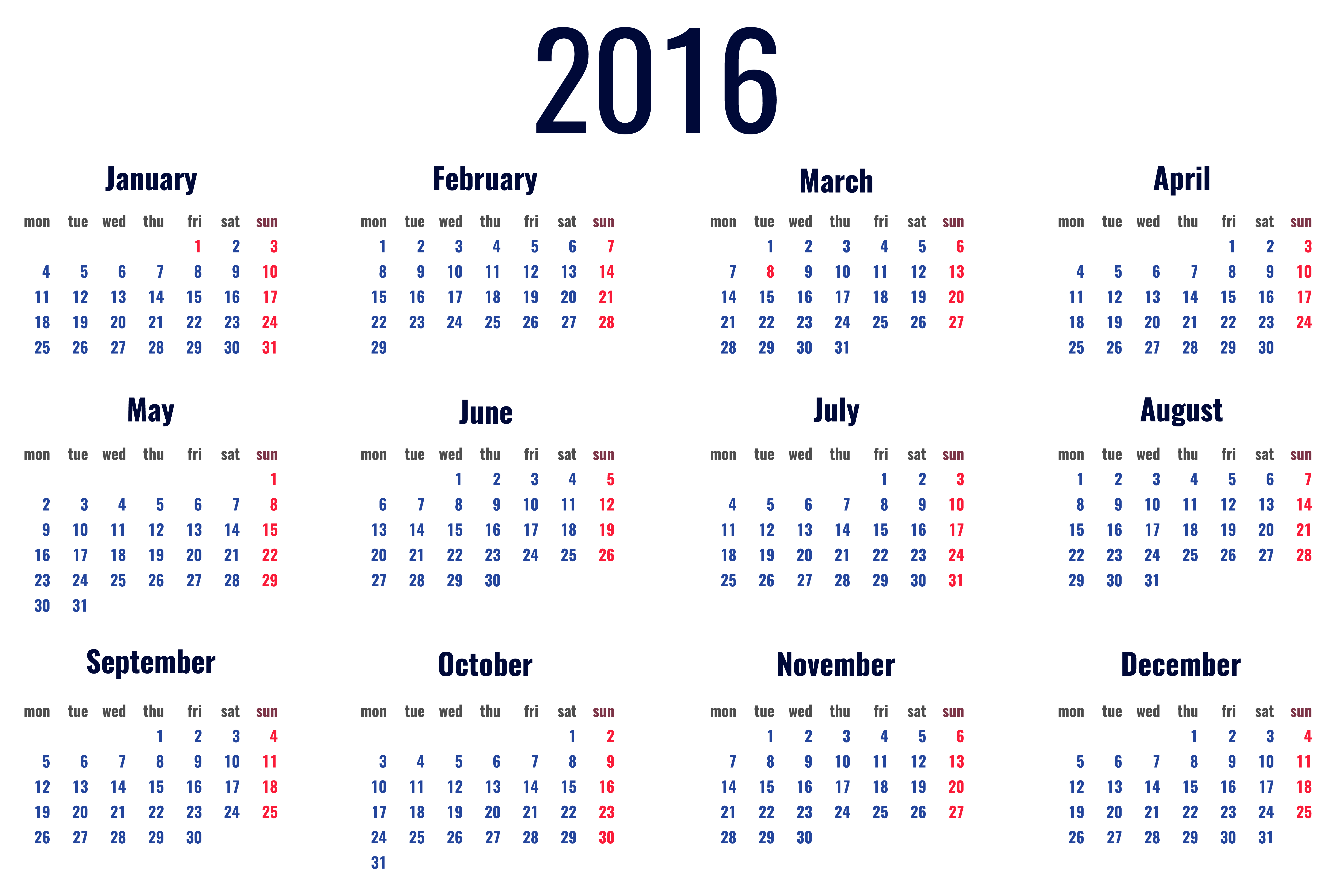 Calendar clipart 2016 year Clipart PNG Art Picture Free